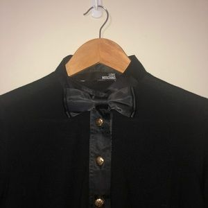 Love Moschino black knit - bow tie, gold buttons